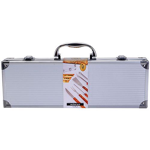 Jogo para churrasco cabo de madeira 6 peças com maleta de alumínio