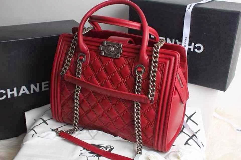 Chanel Red Boy Shopping Tote Large BagChanel Boy Bag Red 2013