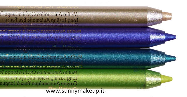 Swatch Pupa - Coral Island. Made To Last Eyes. 203 Shiny Gold, 402 Cobalt Blue, 502 Emerald Bay, 503 Exotic Green.