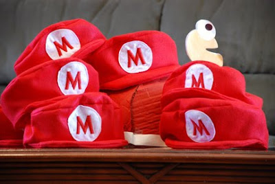 Super mario hats for party guests