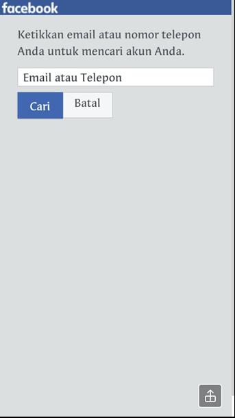 Email atau nomor telepon fb