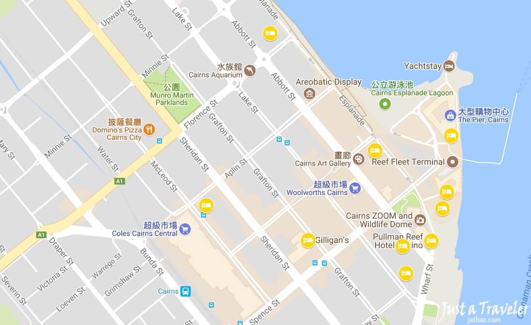 凱恩斯-住宿-推薦-地圖-景點-飯店-旅館-民宿-公寓-酒店-Cairns-map-attraction-Hotel