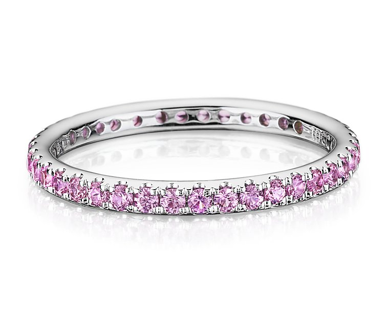 Pink Sapphire Eternity Ring in 18k White Gold | 9 Blue ...
