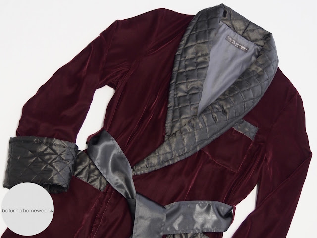 dandy velvet dressing gown red black quilted silk shawl collar long warm traditional classic english style victorian robe burgundy coloured maroon