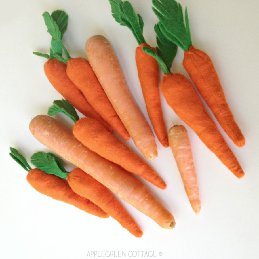 How To Sew Felt Carrots - Free Pattern - AppleGreen Cottage