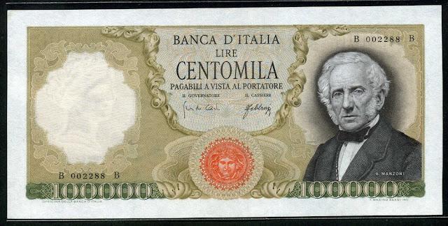 Italian Currency 100000 lire paper money banknote