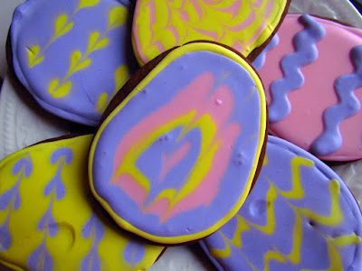 Chocolate Sugar Cookies with Purple and Pink Frosting