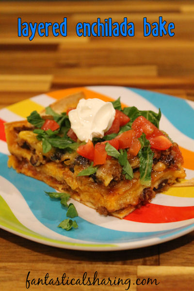 Layered Enchilada Bake // Lazy enchiladas are my kind of enchiladas - this recipe has simple ingredients and is easy to throw together. #recipe #beef #maindish