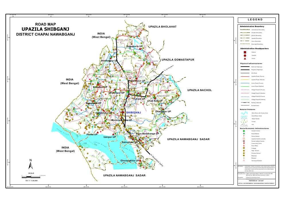 Shibganj Upazila Road Map Nawabganj District Bangladesh