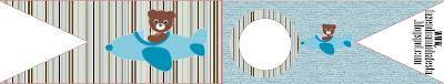 Banderines para sandwichs, para imprimir gratis, de Osito Aviador.