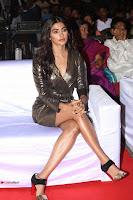 Pooja Hegde looks glamarous in deep neck sleevless short tight golden gown at Duvvada Jagannadham thank you meet function 100.JPG