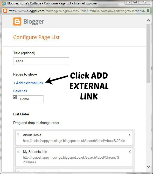 click add external link
