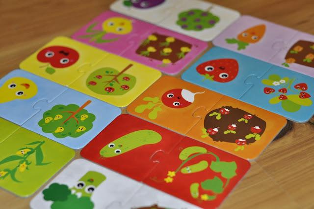 czuczu do pary, warzywa, ogórek, jabłoń, puzzle dla trzylatka