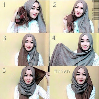 Cara memakai jilbab pashmina mudah