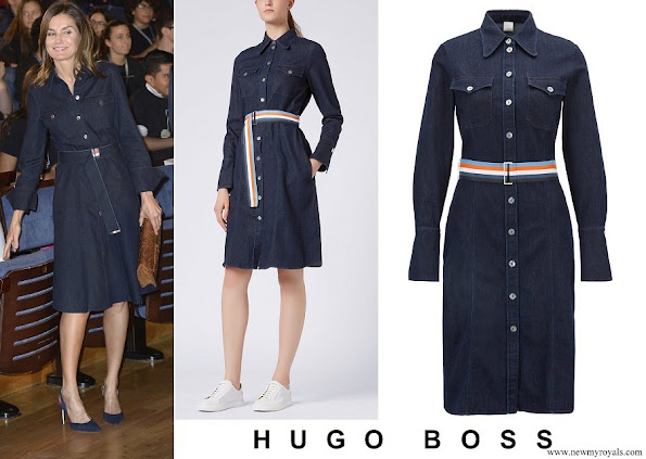 Queen Letizia wore HUGO BOSS Caddli Stretch-Denim Dress