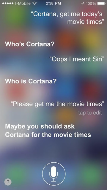 siri jealous, siri joke, siri cortana, cortana get me movie times
