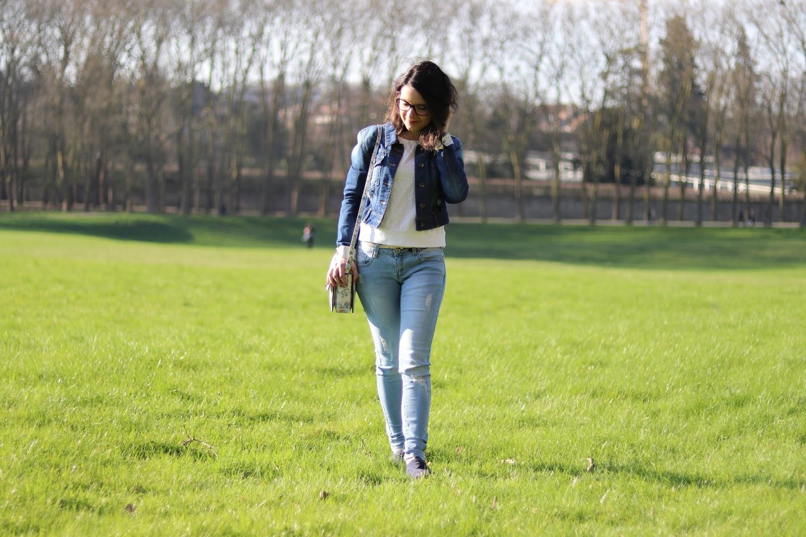 look mode femme ootd outfit of the day fleurs veste en jean shein avis babou derbies paillettes accessorize