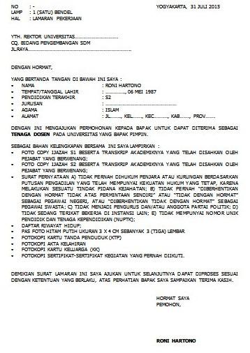 Contoh Surat Surat Lamaran Kerja Pada Instansi