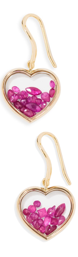 Aurélie Bidermann Chivor Heart Ruby & 18K Yellow Gold Earrings