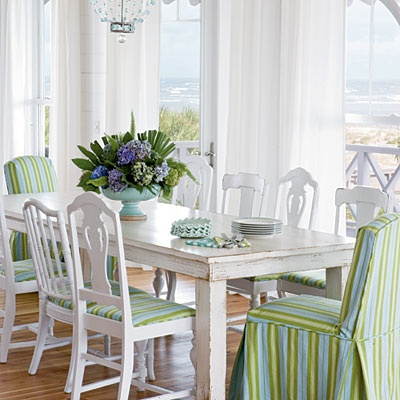 A Combination Of Painted Side Chairs Mixed With Two Fabric Hostess Chairs  Is Another Way To Mix Up The Dining Space Yet Keep Things Co Ordinated.