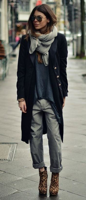 incredible fall outfit / scarf + coat + grey pants + top + animal printed boots