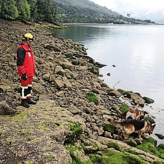 Nibaldo Gatica Emilmaqui junto a los canes Anuk y Larry