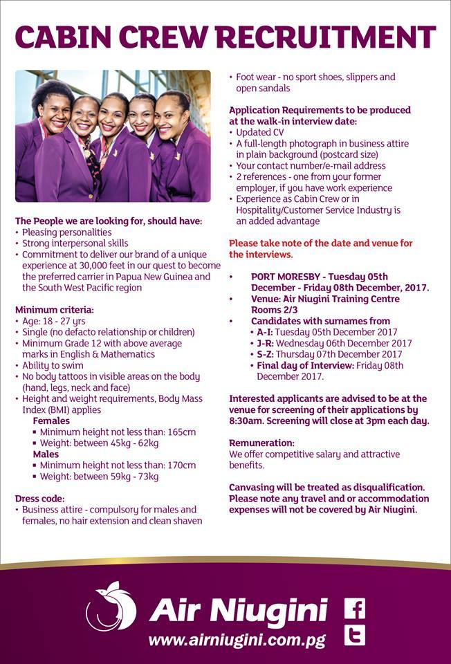 job vacancies : cabin crew with air niugini - png ehow