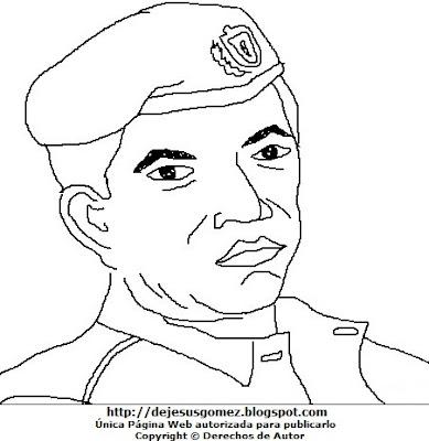Dibujo de Hugo Chávez con boina para colorear pintar e imprimir. Dibujo de Hugo Chávez hecho por Jesus Gomez