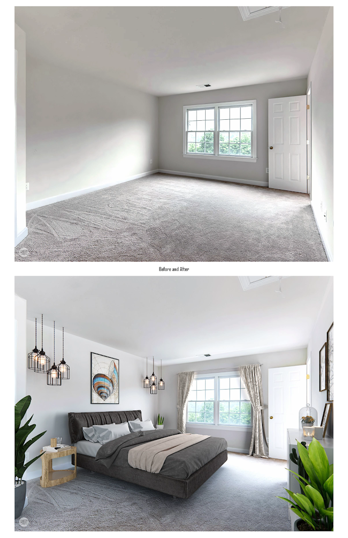 Virtual Staging Before and After, Bedroom, USA