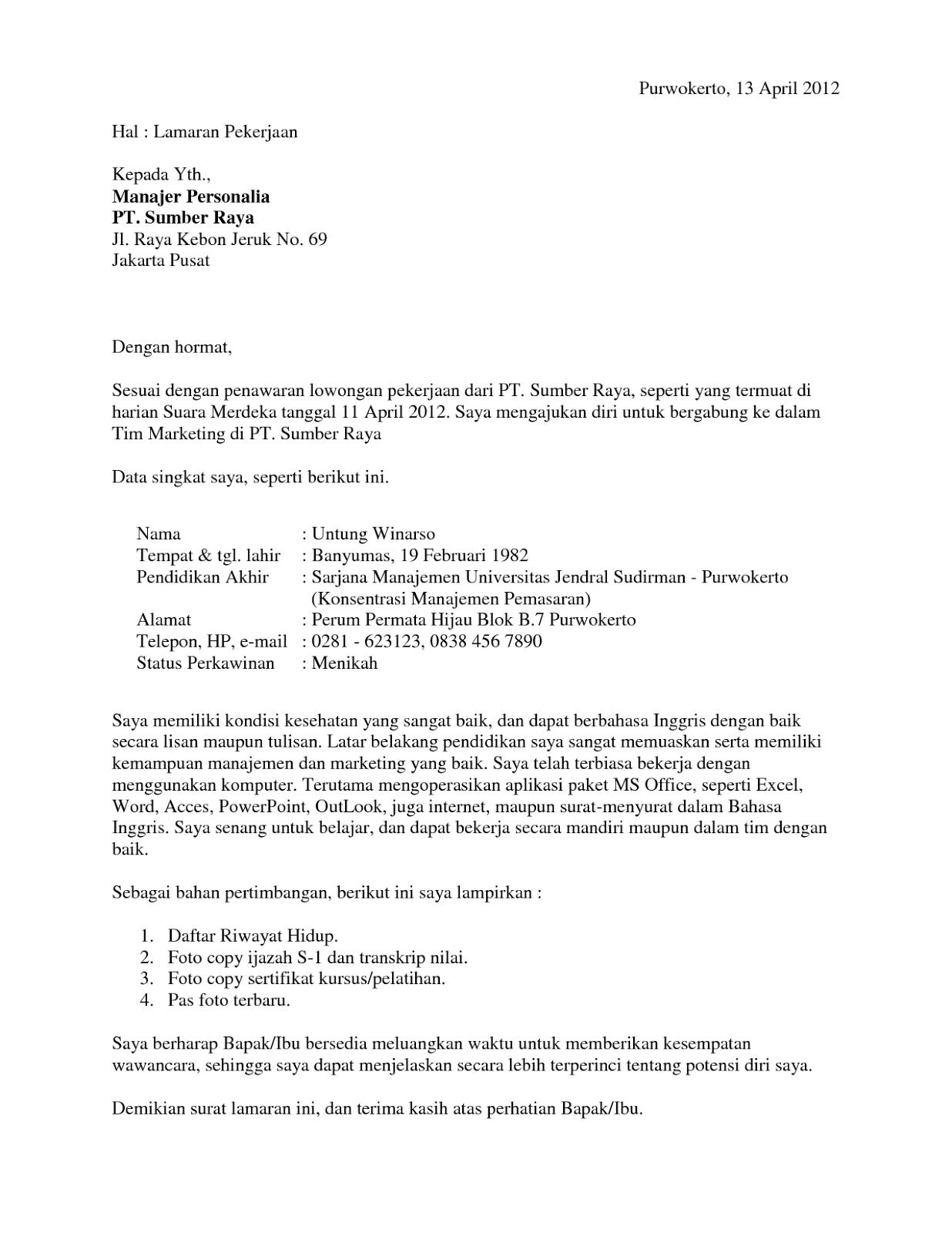 Contoh Surat Lamaran Pekerjaan Akuntansi Contoh Surat