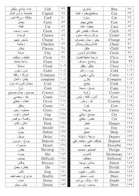 اللغة الانجليزية 500 كلمة