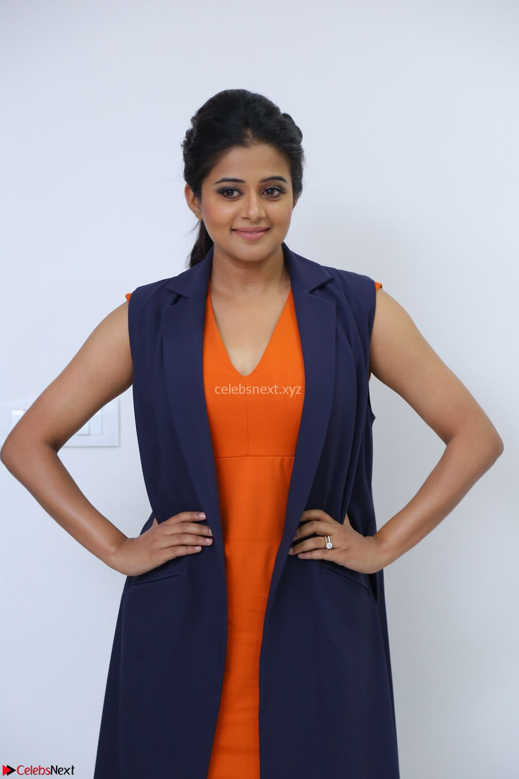 Priyamani in Beautiful Short Deep neck Orange Dress ~ CelebsNext Exclusive