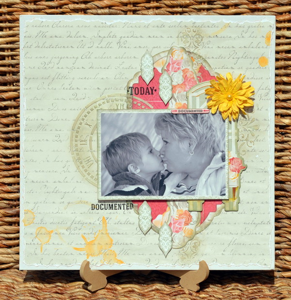 Mixed Media Layout by Denise van Deventer using BoBunny Aryia's Garden Collection and Pentart Chameleon Wax Paste