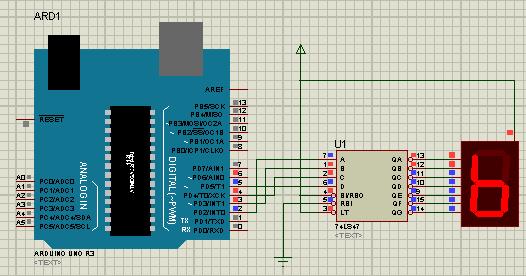 Simulasi Isis Proteus Arduino Seven Segment Display
