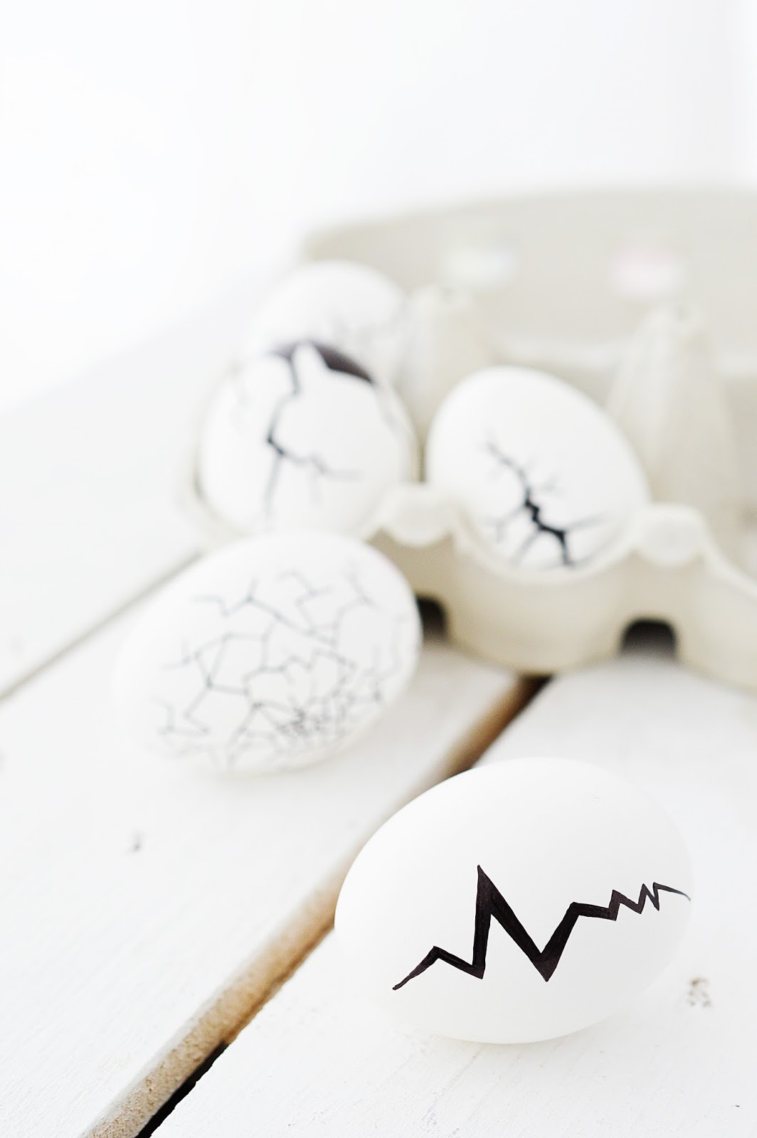 painted Easter eggs with cracks