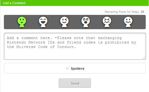 Miiverse Code of Conduct Exchanging Nintendo Network IDs and friend codes is prohibited