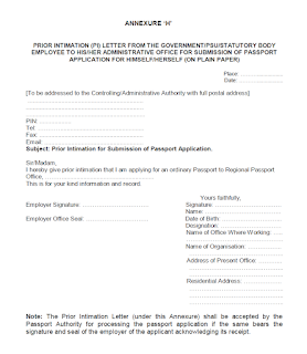 Prior Intimation Letter for submission of Passport Application