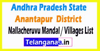 Nallacheruvu Mandal Villages Codes Anantapur District Andhra Pradesh State India