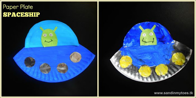 Paper plate spaceships - a fun craft for kids of toddlers and preschoolers!
