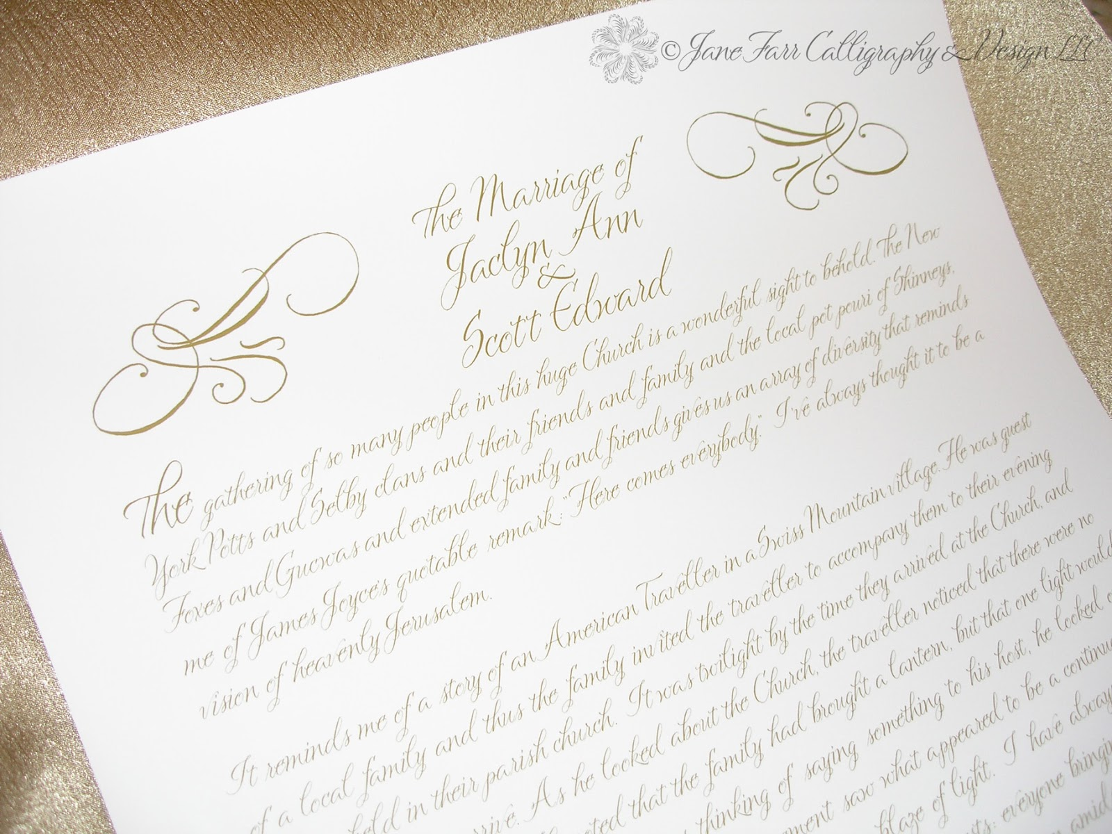 Wedding Calligraphy by Jane Farr First Wedding Anniversary Gift