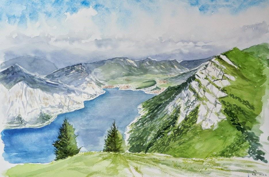 Lorenzo dotti sketcher epilogo del corso di acquerello al for Lago disegno