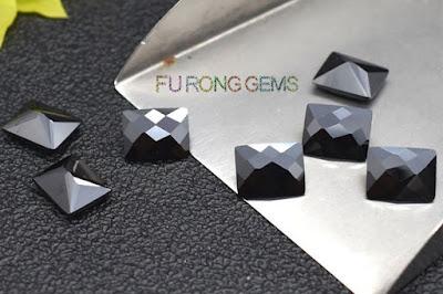 Checkerboard-Cubic-Zirconia-Black-Color-Rectangle-shape-Gemstones