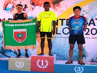 Prajurit Yonif 410/Alugoro Blora Sabet Juara di Pariaman International Triathlon 2018