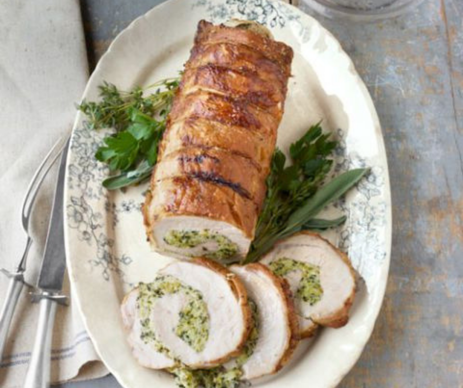 Roast Pork Loin with Herb Stuffing - food-drink-recipes.com