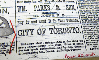 1886 Globe advertisement for Wesbroom Bird's Eye View of Toronto map