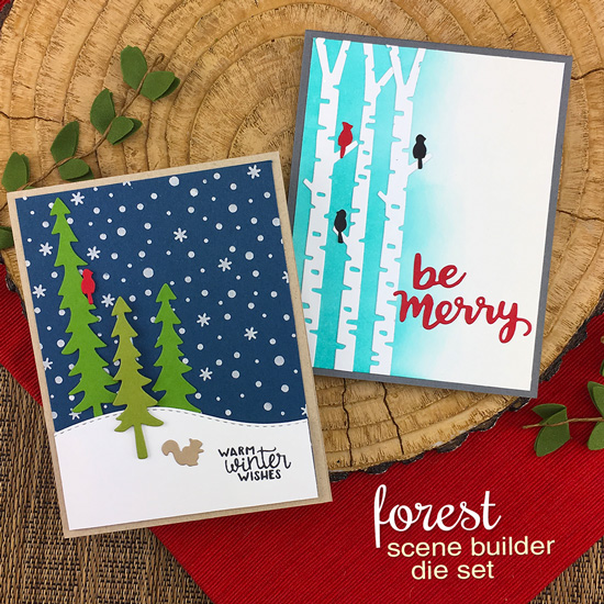 Winter tree cards by Jennifer Jackson | Forest Scene Builder Die Set, Holiday Greetings Die Set, and Petite Snow Stencil by Newton's Nook Designs  #newtonsnook #handmade