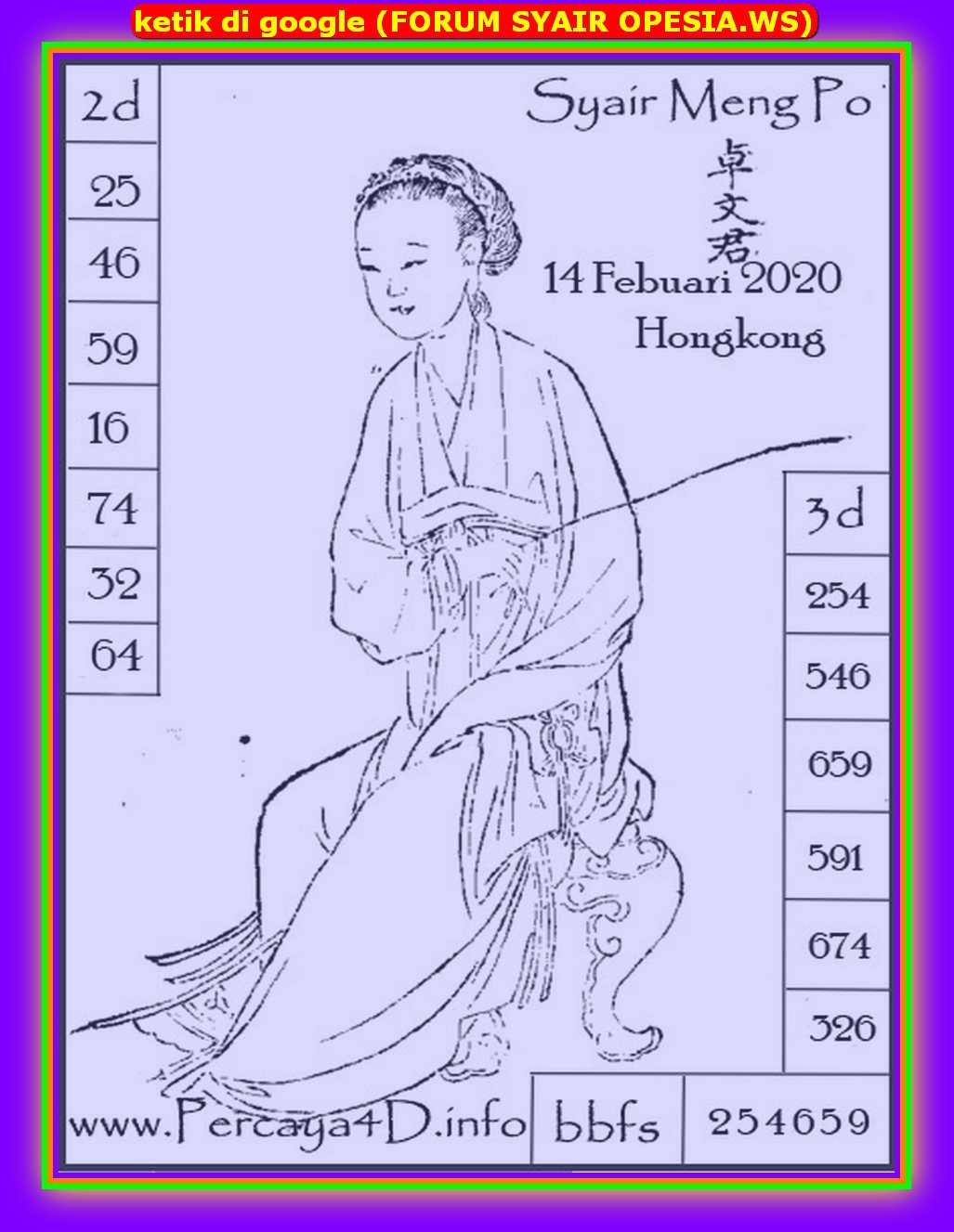 Kode syair Hongkong Jumat 14 Februari 2020 131