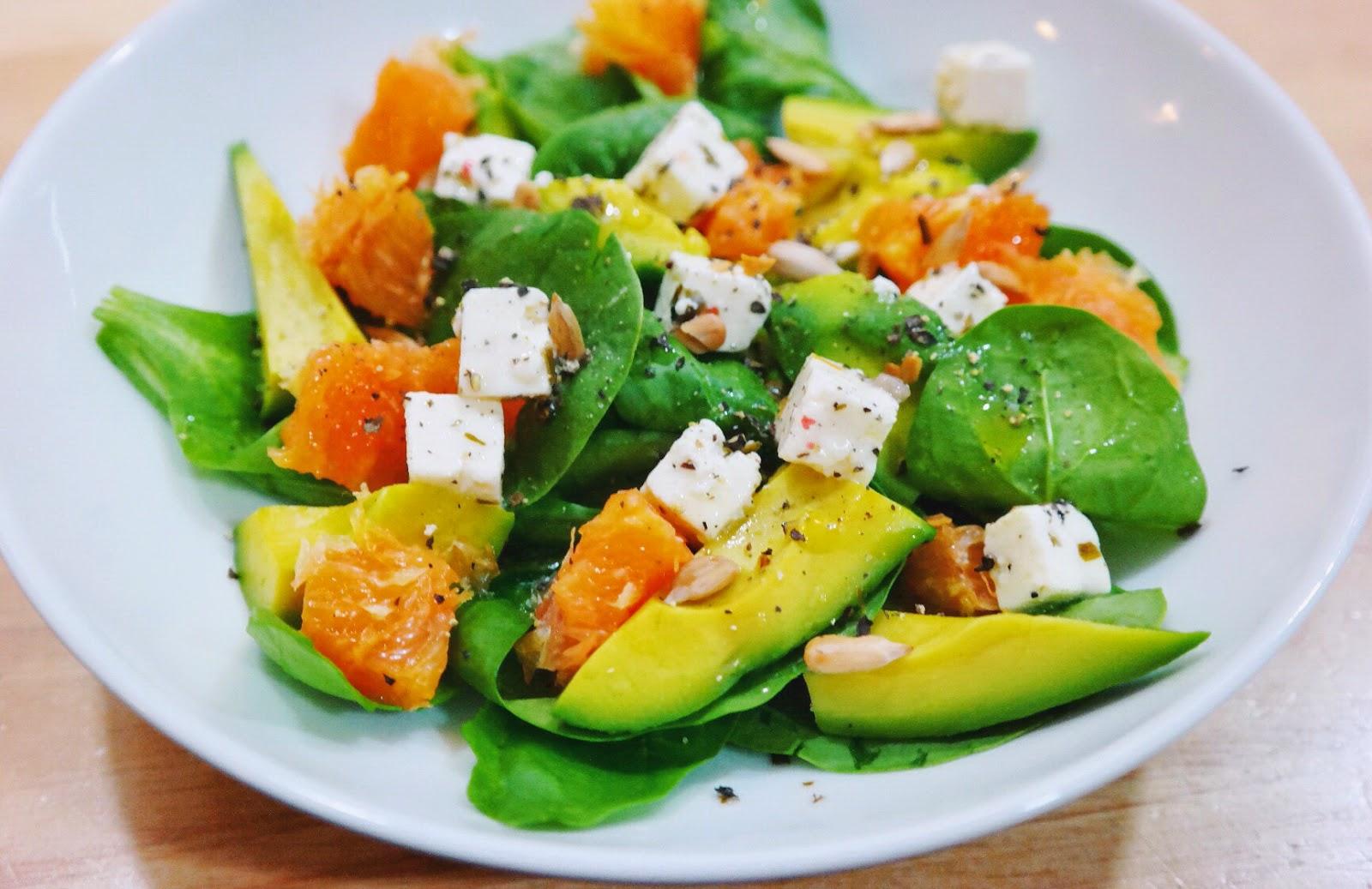 Avocado Feta Orange Salad with Baby Spinach and Pumpkin ...
