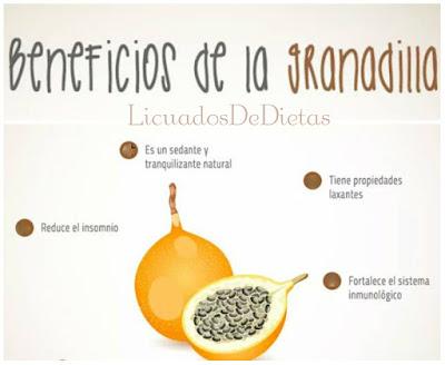 La granadilla es considerada una fruta refrescante, esta fruta sirve como estimulador de defensas, a su vez combate el insomnio y sirve como tranquilizante.