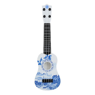 Children's Guitar 4 Strings Musical Develop Simulation Toys with Picks White Blue
